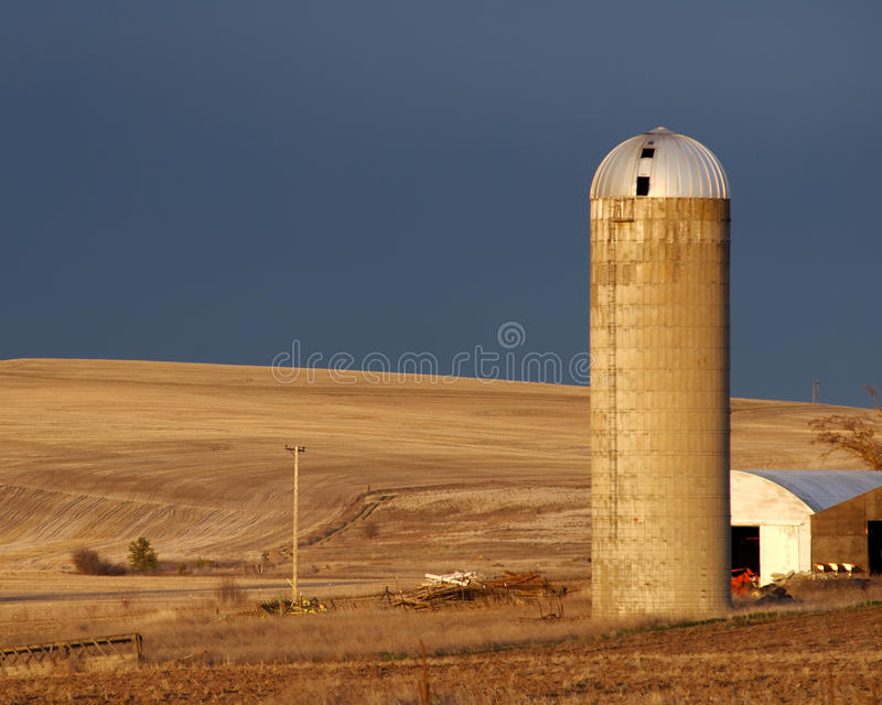Palouse Grain Silo. A late afternoon illuminates a grain silo and the wheat fields of the Palouse, Washington's wheat growing region royalty free stock photos