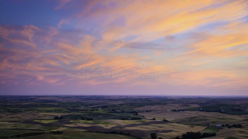 Palouse-Sonnenuntergang stockfoto