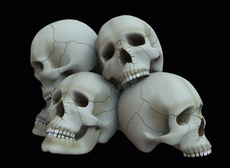 palowe czaszki ilustracja 3 d royalty ilustracja