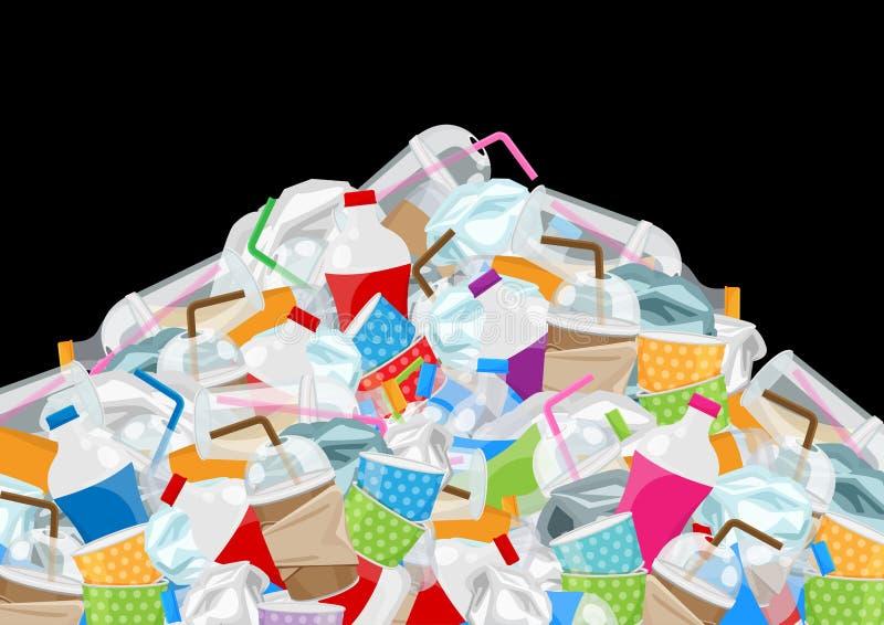 Palowy śmieci odpady klingeryt i papier w halnym kształcie odizolowywającym na czarnym tle, butelka śmieci plastikowy odpady dużo ilustracja wektor