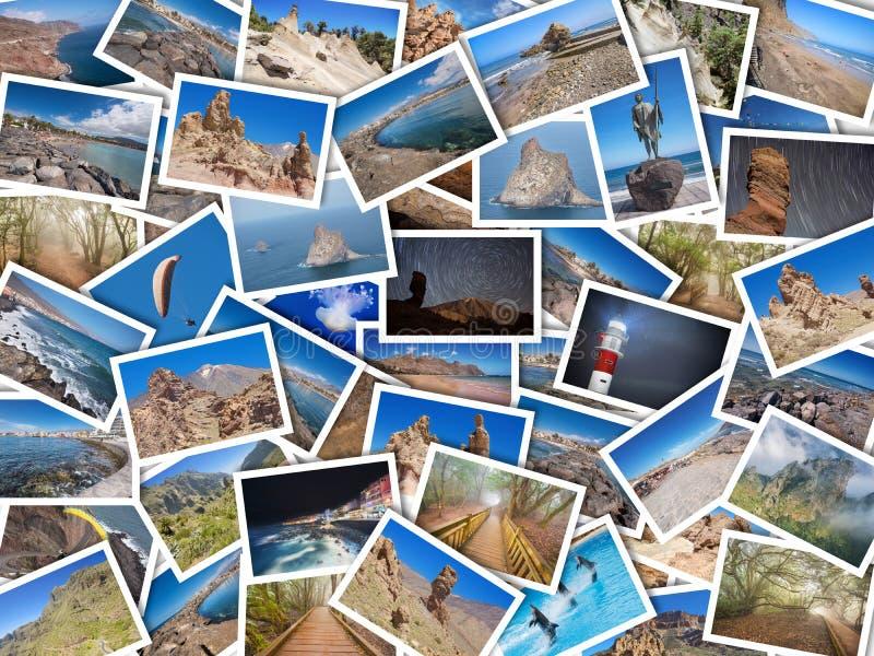 Palowy kolaż mój najlepszy podróży fotografie Tenerife, wyspa kanaryjska, Hiszpania Wersja 1 obrazy stock