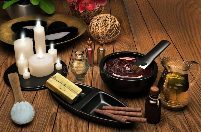 palpera Spa inställning med extraktolja, naturlig tvål, mjuk handduk royaltyfri bild
