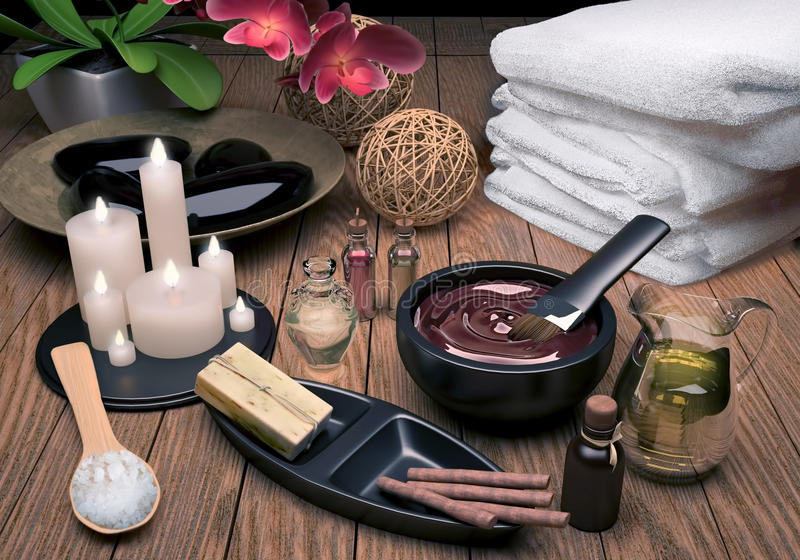 palpera Spa inställning med extraktolja, naturlig tvål, mjuk handduk arkivfoton