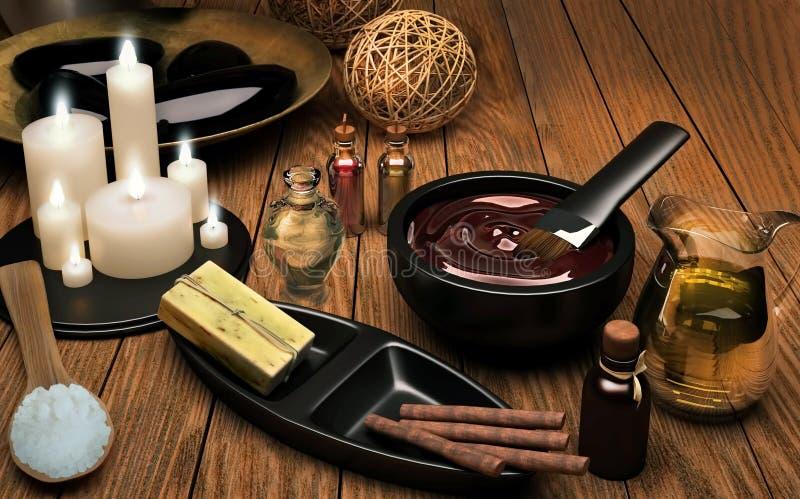 palpera Spa inställning med extraktolja, naturlig tvål, mjuk handduk royaltyfri fotografi