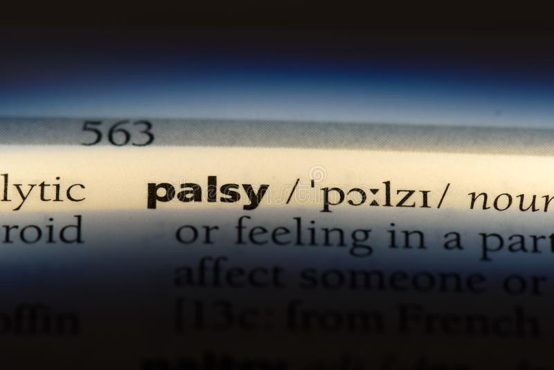 Palsy. Word in a dictionary.  concept royalty free stock photos