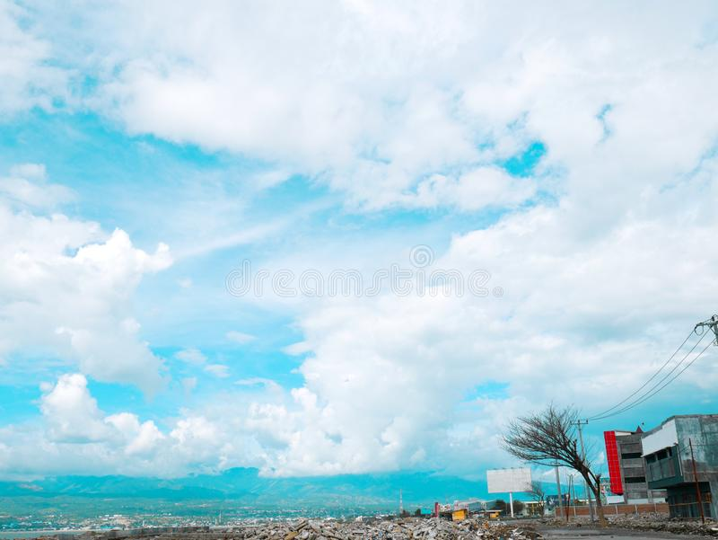Palu Bay after Disaster. Palu Bay after the earthquake, liquefaction and tsunami on Sep 28, 2018 royalty free stock photos