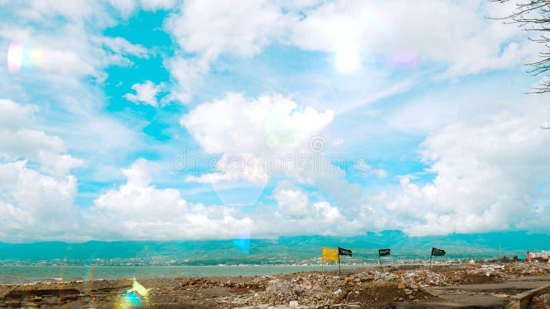 Palu Bay after Earthquake and Tsunami. Artwork on the gulf coast of Palu after the earthquake, liquefaction and tsunami Sep 28, 2018 stock photography