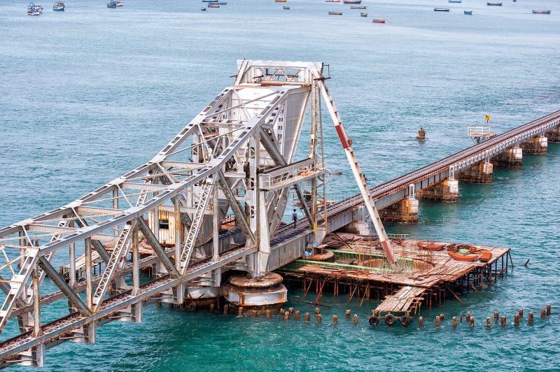 Pamban桥梁结构在Rameswaram,印度 库存照片