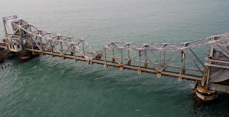 Pamban Railway Bridge across the Indian Ocean stock photography