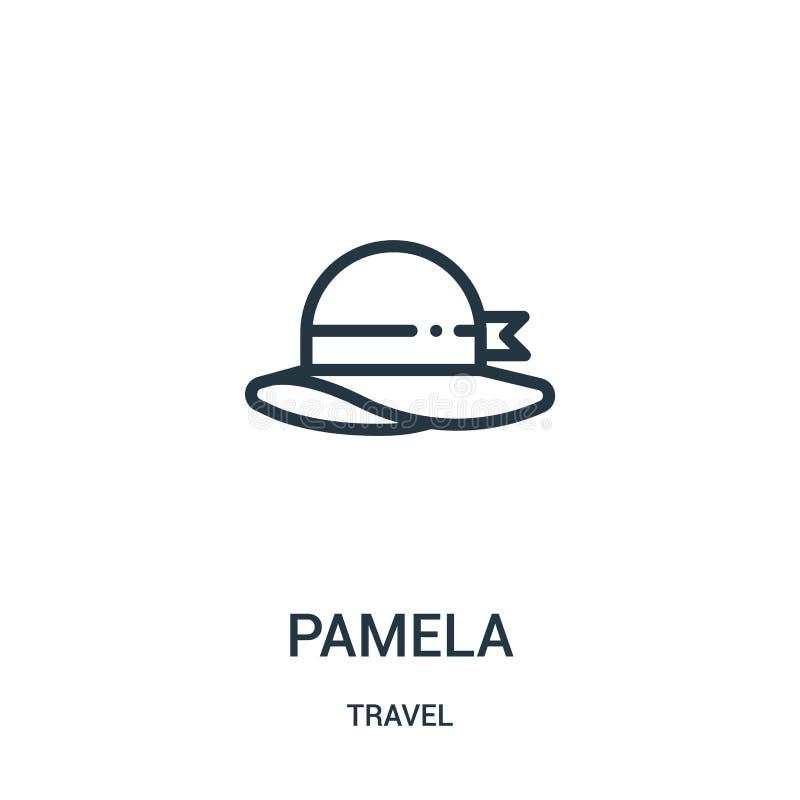 pamela ikony wektor od podróży kolekcji Cienka kreskowa Pamela konturu ikony wektoru ilustracja Liniowy symbol dla używa na sieci royalty ilustracja