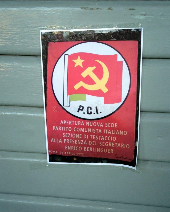 Pamflet van Italiaanse communistische partij gedateerd 1973 stock foto