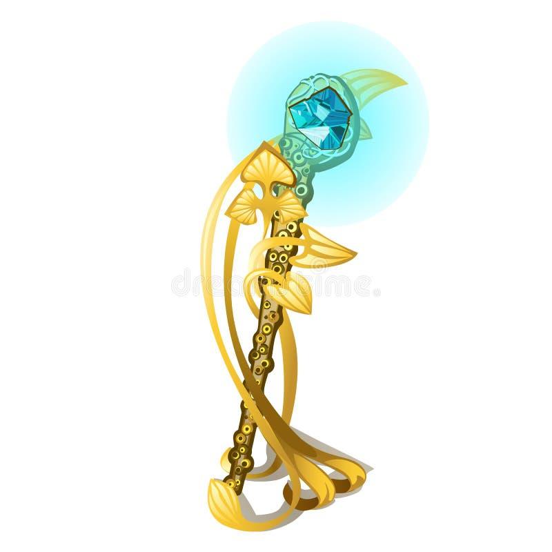 Pamiątka w formie złotej magicznej różdżki w postaci czułków mollusk z cennym kamieniem royalty ilustracja