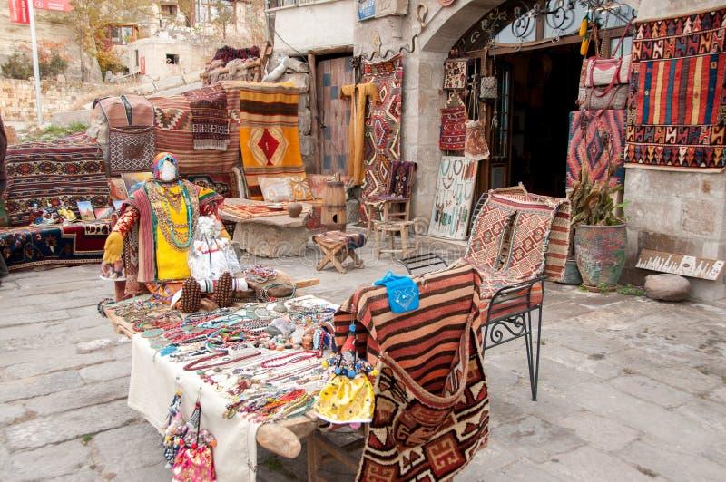 Pamiątkarski ulica sklep Turcja, Cappadocia fotografia royalty free