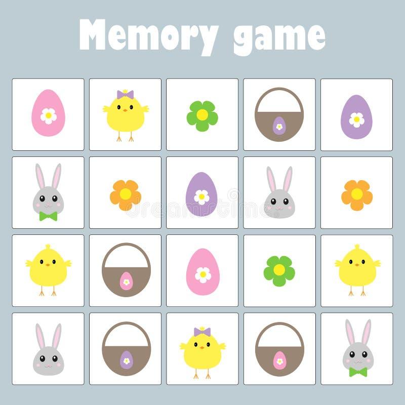 Pamięci gra z obrazek dekoracji Easter jajkami dla dzieci, zabawy edukacji gra dla dzieciaków, preschool aktywność, zadanie dla ilustracja wektor