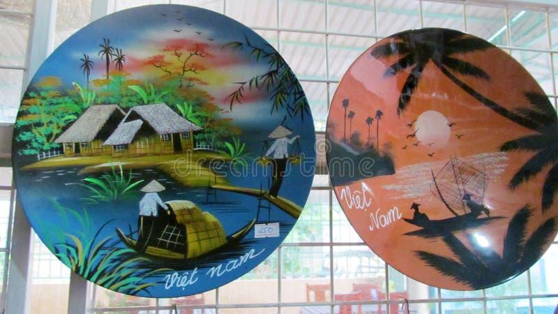 Pamiątka malujący talerze od Wietnam ilustracji