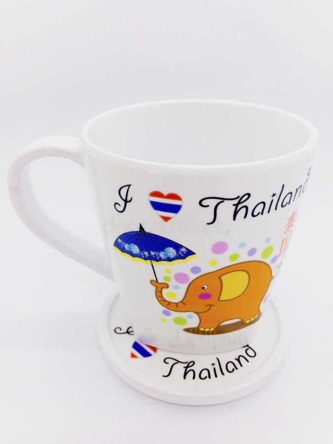 Pamiątka od Tajlandia, kubek z szklaną pokrywą Odosobniony o obraz royalty free