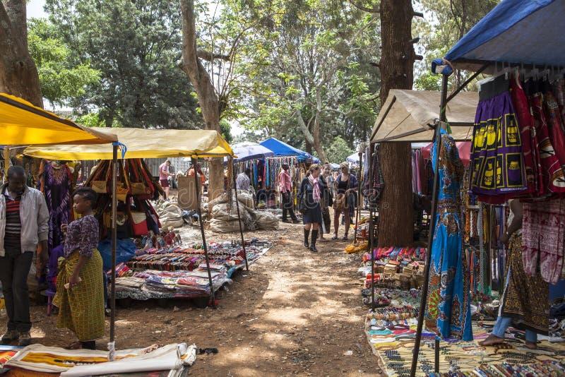 Pamiątka rynek w Nairobia kapitale, Kenja obrazy royalty free