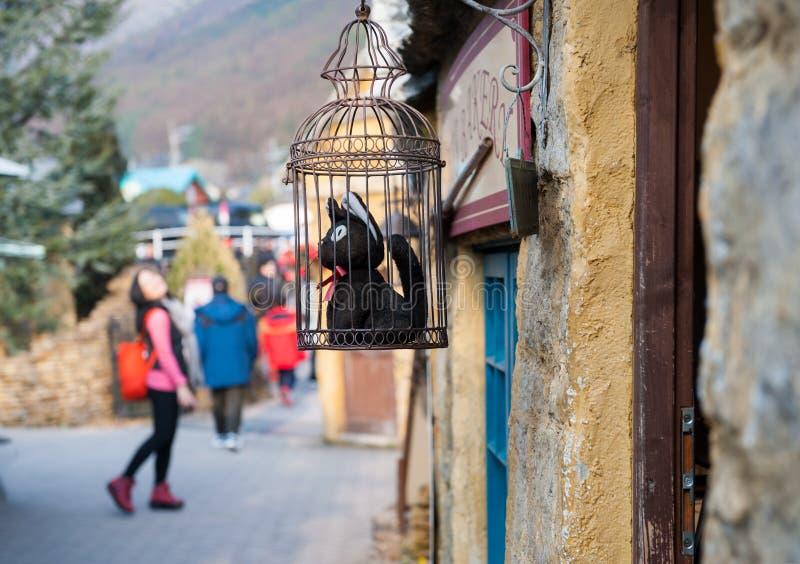 Pamiątkarski sklep przy Yufuin Kwiecistą wioską fotografia stock