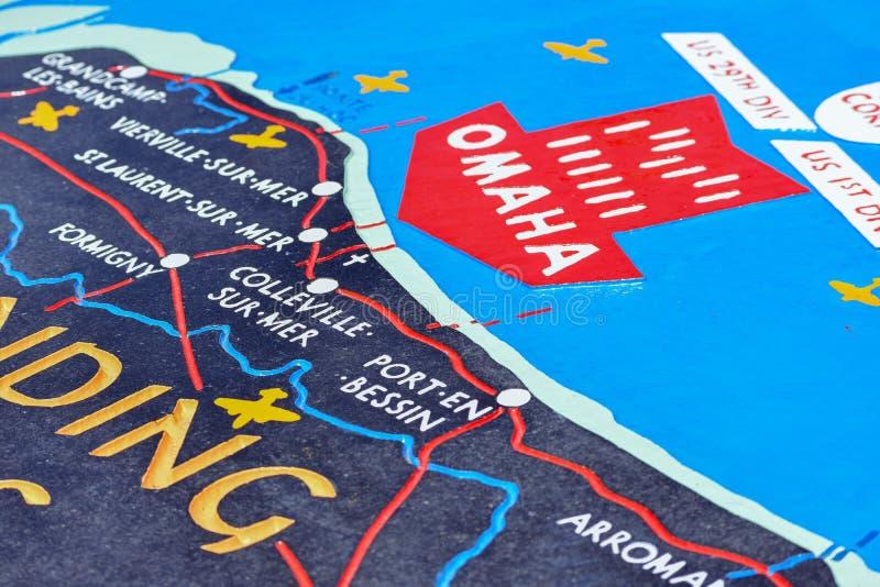 Pamiątkowa i objaśniająca mapa bitwa Normandy lądowania w Drugi wojnie światowej Omaha plaża, Francuski Normandy zdjęcia stock