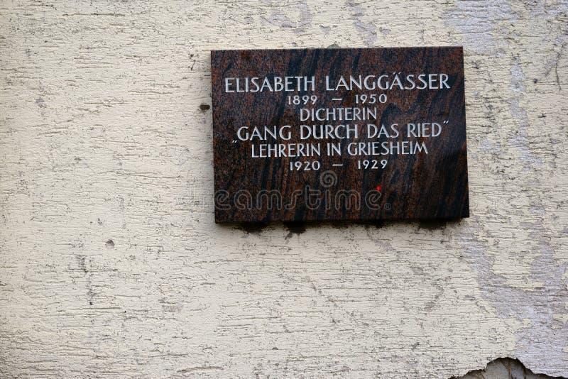 Pamiątkowa plakieta Elisabeth Langgässer obrazy royalty free