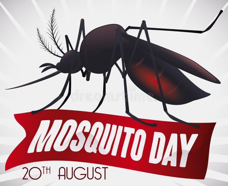 Pamiątkowy projekt z komarem nad faborkiem dla Światowego komara dnia, Wektorowa ilustracja royalty ilustracja