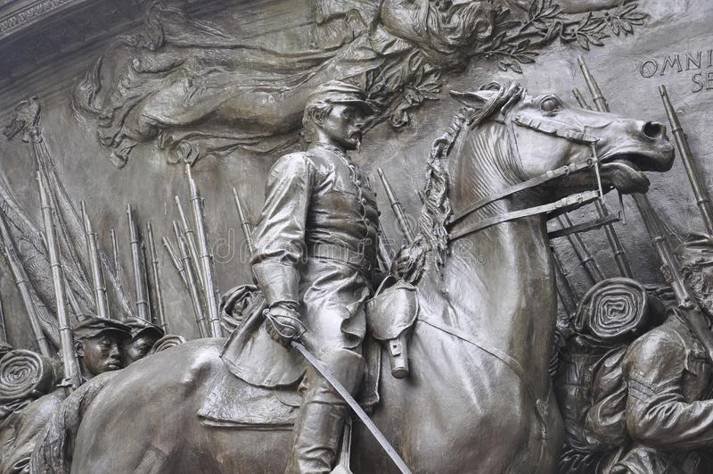 Pamiątkowy Robert Gould Shaw i 54th pułk od Boston w Massachusettes stanie usa fotografia stock