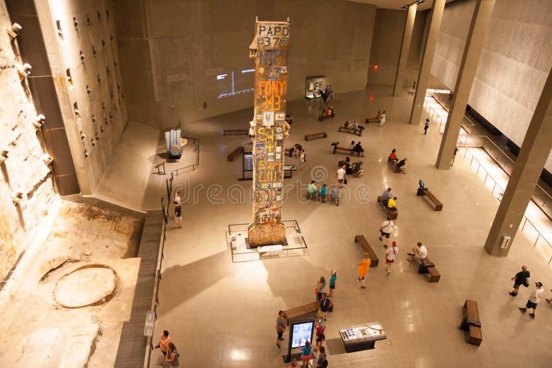 9/11 Pamiątkowych muzeów, Fundacyjny Hall przy punktem zerowym wybuchu, WTC obraz stock