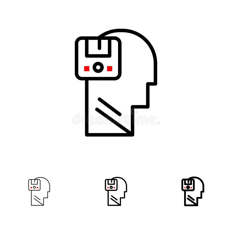 Pamięć, dane, użytkownik, Męski czerni linii ikony set, Oprócz, Śmiały i cienki royalty ilustracja