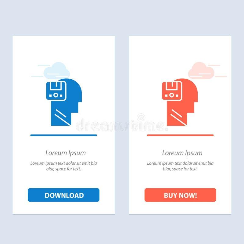 Pamięć, dane, użytkownik, Męski sieci Widget karty szablon, Oprócz, Błękitnej, Czerwonej i ściągania i zakupu Teraz ilustracja wektor