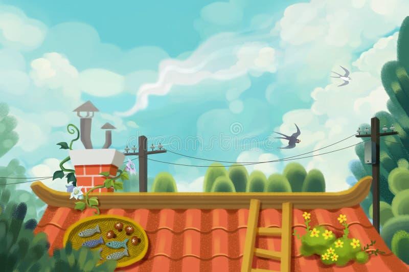 Pamięć dzieciństwo dach Clearingowy niebo ilustracji