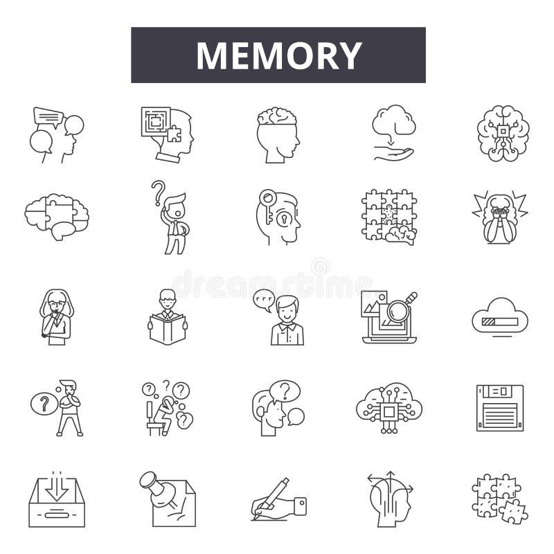 Pamięć kreskowe ikony, znaki, wektoru set, liniowy pojęcie, kontur ilustracja royalty ilustracja