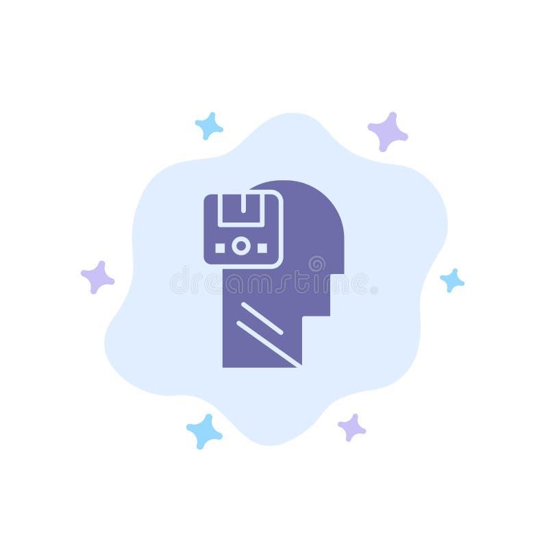 Pamięć, Oprócz, dane, użytkownik, Męska Błękitna ikona na abstrakt chmury tle ilustracja wektor