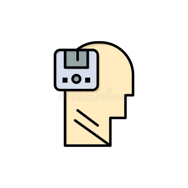 Pamięć, Oprócz, dane, użytkownik, Męska Płaska kolor ikona Wektorowy ikona sztandaru szablon ilustracji