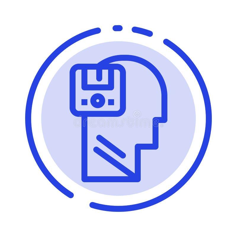 Pamięć, Oprócz, dane, użytkownik, Męski błękit Kropkująca linii linii ikona ilustracja wektor