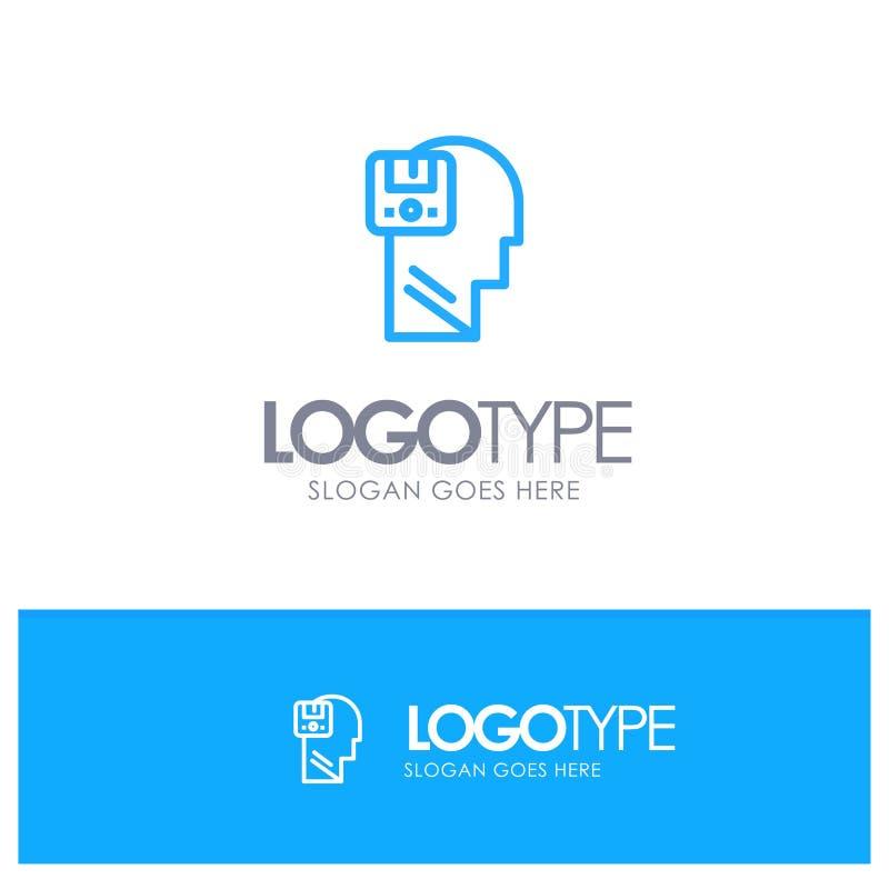 Pamięć, Oprócz, dane, użytkownik, Męski Błękitny konturu logo miejsce dla Tagline royalty ilustracja