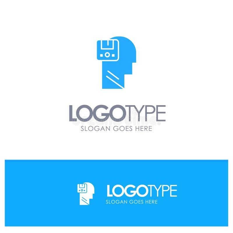 Pamięć, Oprócz, dane, użytkownik, Męski Błękitny Stały logo z miejscem dla tagline ilustracja wektor