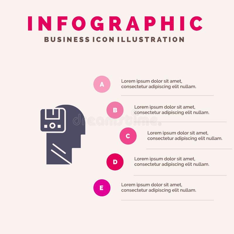 Pamięć, Oprócz, dane, użytkownik, Męski Stały ikony Infographics 5 kroków prezentacji tło ilustracja wektor