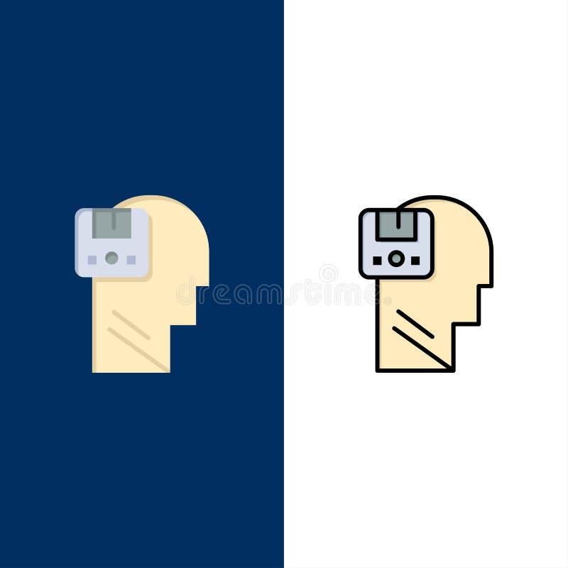 Pamięć, Oprócz, dane, użytkownik, Męskie ikony Mieszkanie i linia Wypełniający ikony Ustalony Wektorowy Błękitny tło royalty ilustracja