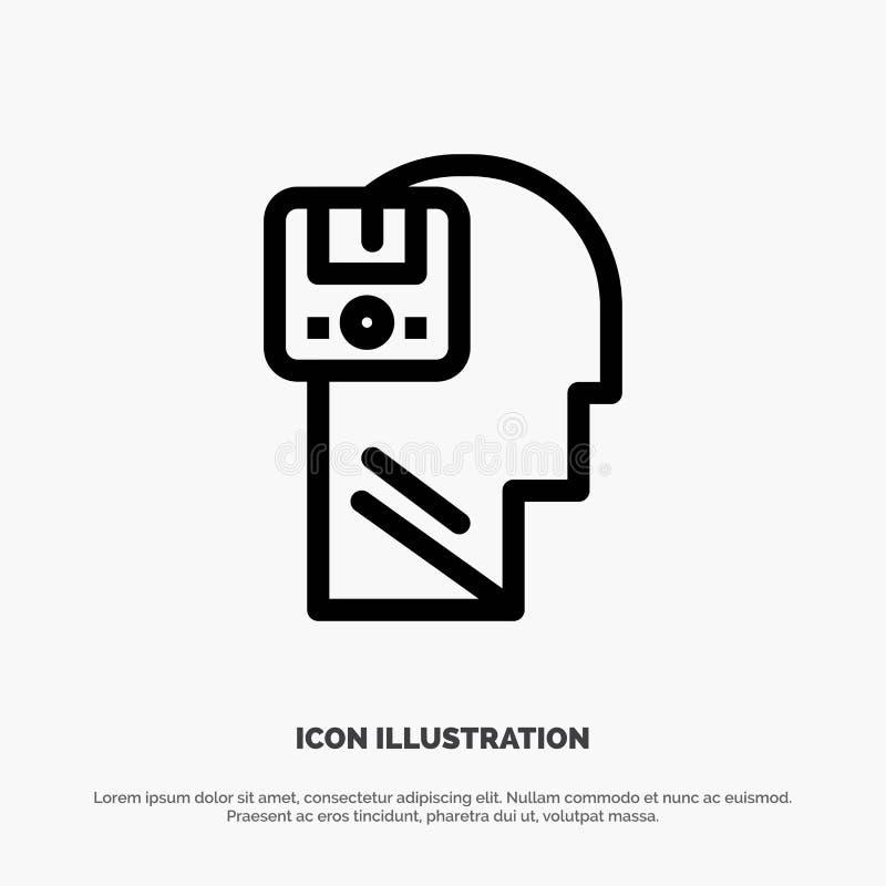 Pamięć, Oprócz, dane, użytkownik, samiec ikony Kreskowy wektor royalty ilustracja