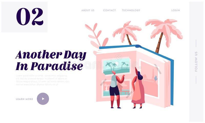 Pamięć wycieczki doświadczenie, podróży strony internetowej lądowania strona, Malutkich kobieta charakterów Przyglądający Podróżn royalty ilustracja
