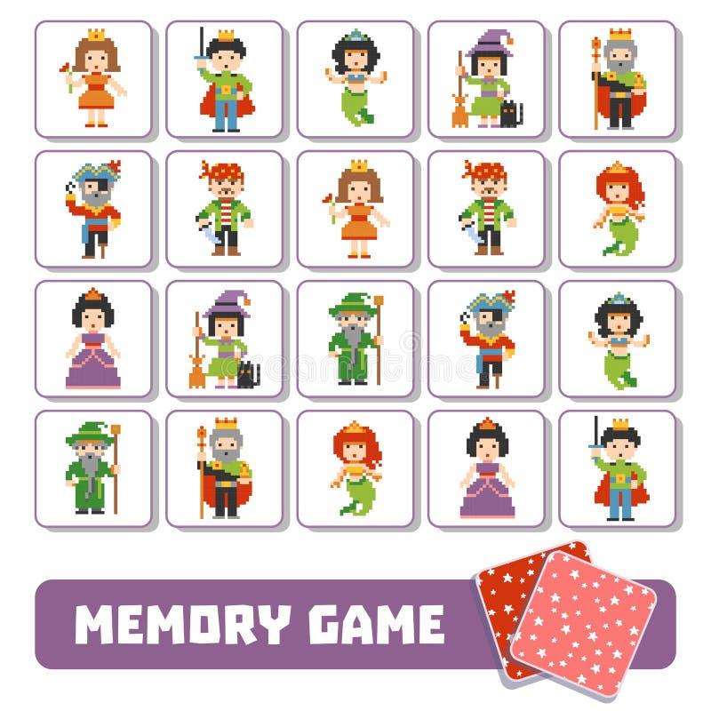 Pamięci gra dla dzieci, karty z baśniowymi charakterami royalty ilustracja