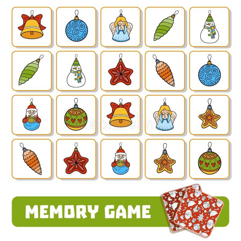 Pamięci gra dla dzieci, karty z choinką bawi się royalty ilustracja
