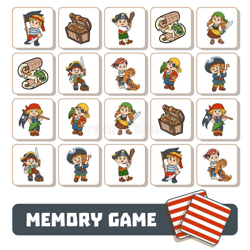 Pamięci gra dla dzieci, karty z piratów charakterami ilustracji