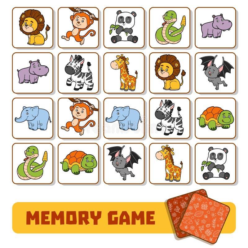 Pamięci gra dla dzieci, karty z zoo zwierzętami ilustracja wektor