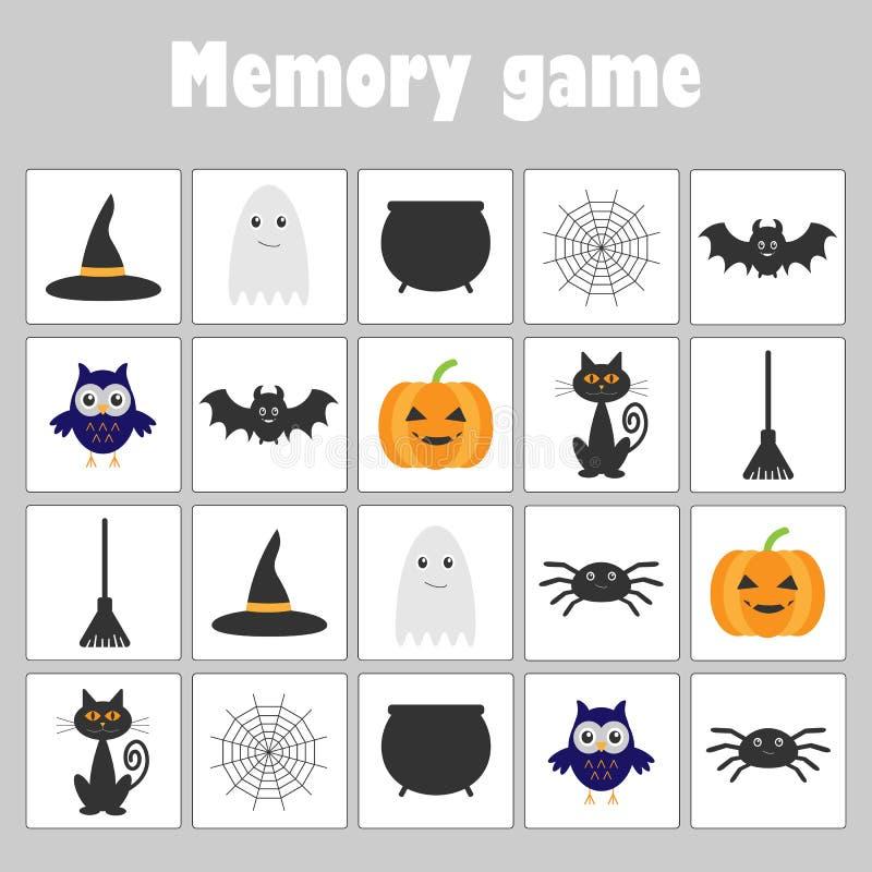 Pamięci gra z obrazka Halloween tematem dla dzieci, zabawy edukaci gra dla dzieciaków, preschool aktywność, zadanie dla developme ilustracji