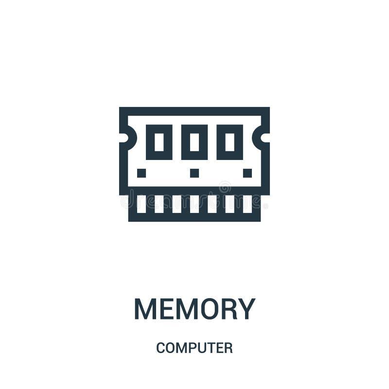 pamięci ikony wektor od komputerowej kolekcji Cienka kreskowa pami?? konturu ikony wektoru ilustracja ilustracji