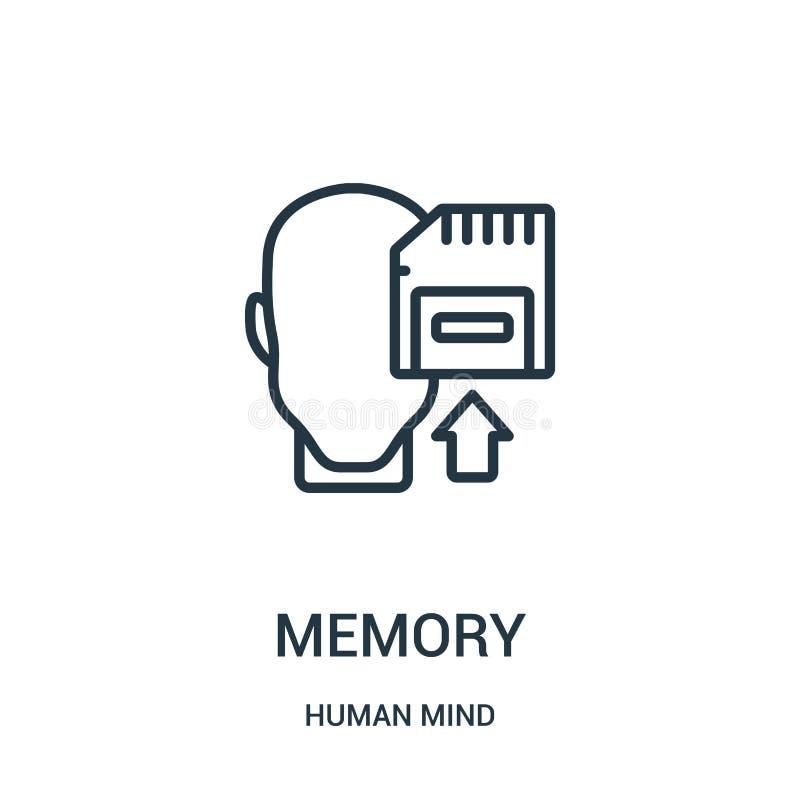 pamięci ikony wektor od ludzki umysł kolekcji Cienka kreskowa pamięć konturu ikony wektoru ilustracja Liniowy symbol dla używa na ilustracji