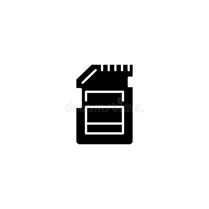Pamięci karty czerni ikony pojęcie Pamięci karty płaski wektorowy symbol, znak, ilustracja ilustracji