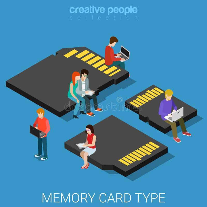 Pamięci karty typ rozmiaru SD mikro MMC mieszkania 3d mini isometric wektor royalty ilustracja