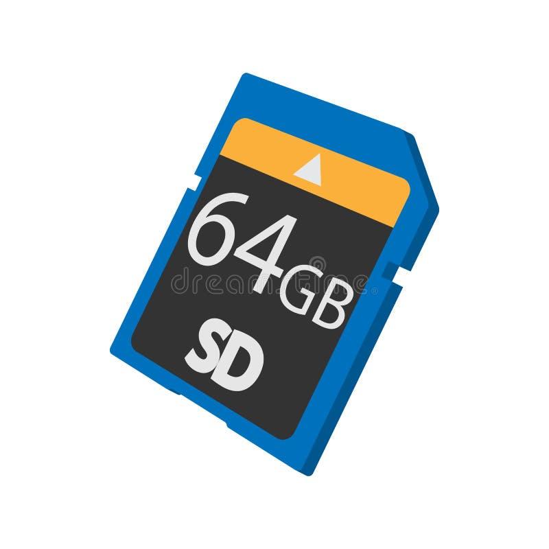 Pamięci SD karty ikona, kreskówka styl ilustracji